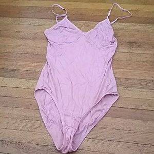 AA ribbed pink bodysuit medium